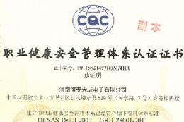 职业健康安全管理体索认证证书